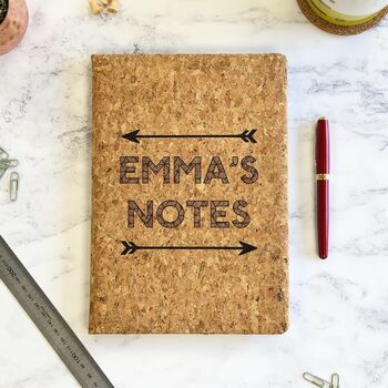 Personalised Gold And Cork B5 Notebook