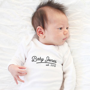 Personalised New Baby Babygrow