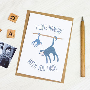 Personalised Dad Monkey Card - father's day cards