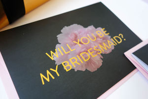 Peony Gold Foil Luxury Bridesmaid Card