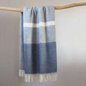 Wool Throw In Blue And Grey