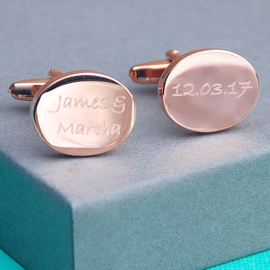 Engraved Rose Gold Any Shape Cufflinks - men's accessories