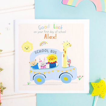 Personalised First Day At School Card 'Bus'