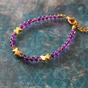 Precious Stone Bracelet With 22ct Gold Plated Charms - bracelets & bangles