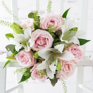 Pink Rose And Lily Fresh Flowers Bouquet