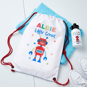 Boys Personalised Robot Pe Bag And Water Bottle