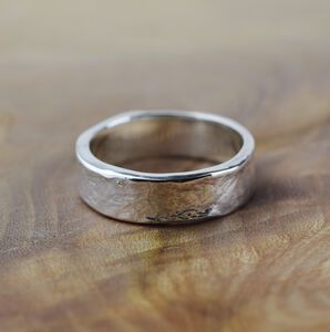 Textured 6mm Wide Silver Storybook Message Ring