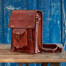 Personalised Brown Leather Satchel Shoulder Bag