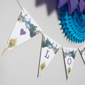 Bespoke Peacock Bird Bunting - room decorations