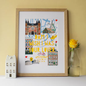Personalised Amsterdam Landmark Papercut Print