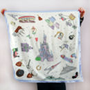 Disney Bound Park Map Silk Scarf