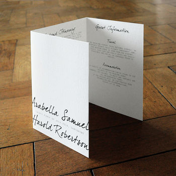 Contemporary Script Folding Wedding Invitation Set