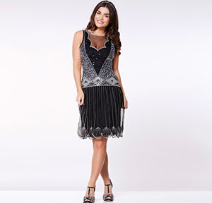 Elaina Drop Waist Flapper Gatsby Dress In Black