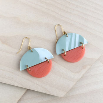 Olive And Salmon Cut Out Earrings