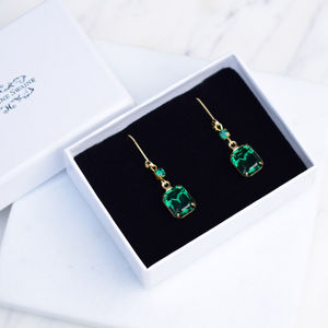 Vintage Emerald Green And Gold Earrings
