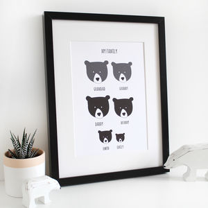 Our Family, Personalised A4 Bear Print - nursery pictures & prints