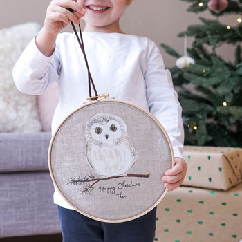 Personalised Owl Christmas Hoop Decoration