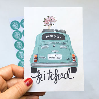 Hand Illustrated 'Officially Hitched' Wedding Card