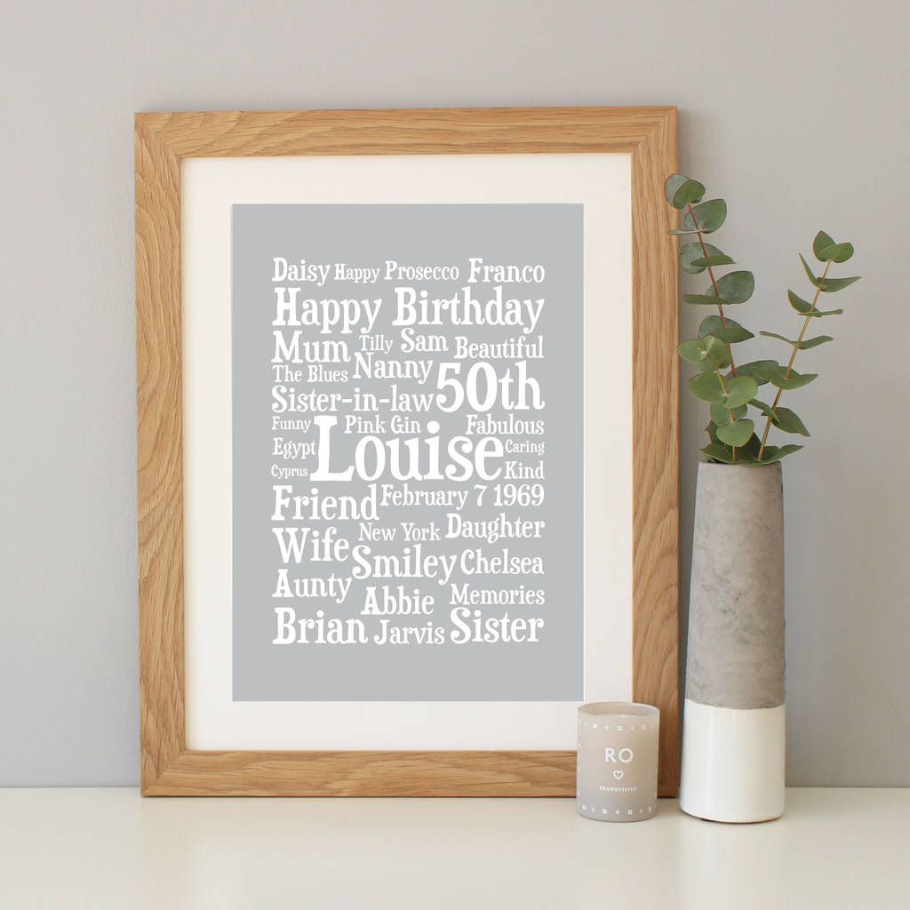 personalised 50th birthday word art gift by hope and love rh notonthehighstreet com
