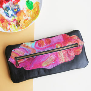 Printed Leather Clutch Bag - new in fashion
