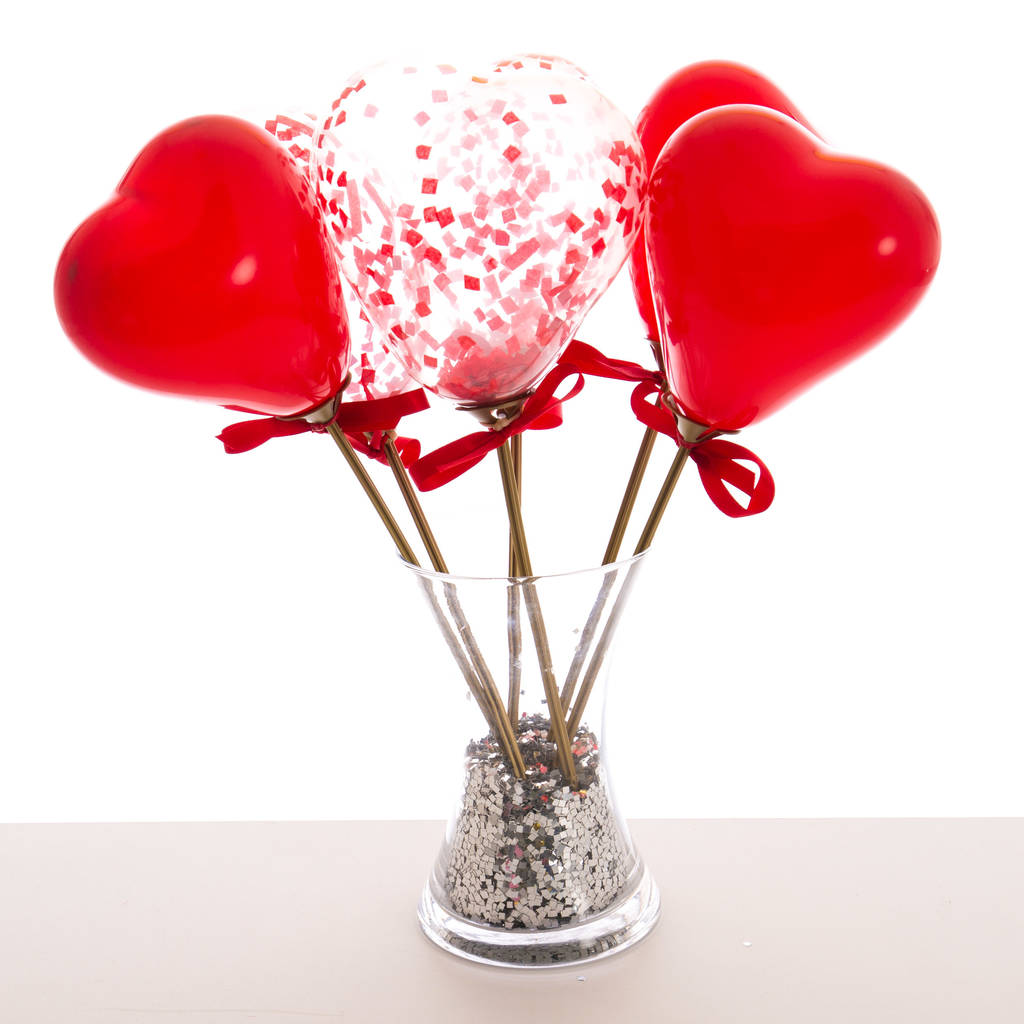 Valentineu0027s Confetti Mini Heart Balloon Wands