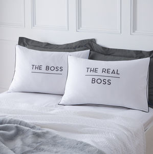 The Boss And Real Boss Pillowcases - housewarming gifts