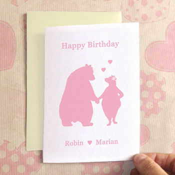 Personalised Birthday Bears In Love Birthday Card