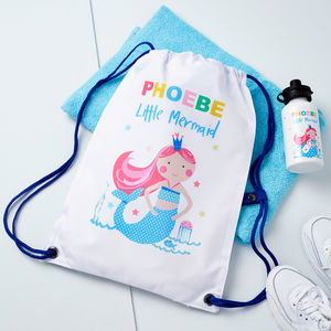 Girls Personalised Mermaid Pe Bag And Water Bottle