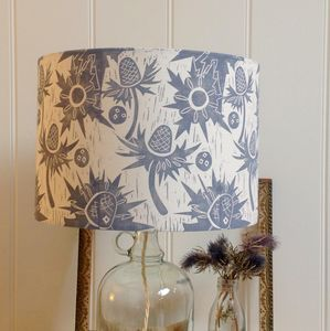 Sea Holly Lampshade Block Printed By Hand