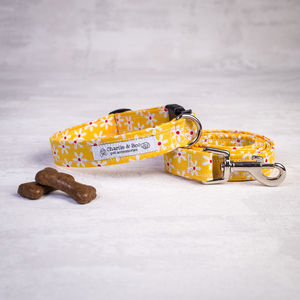 Yellow Floral Dog Collar And Lead For Girl Or Boy Dogs - dog collars
