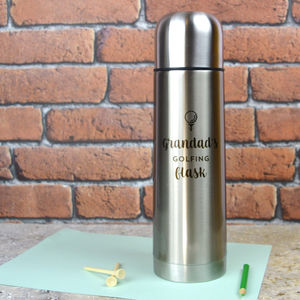 Personalised Stainless Steel Flask For Golfer