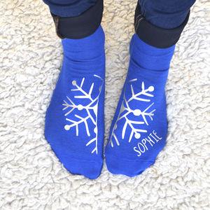 Personalised Silver Snowflake Socks