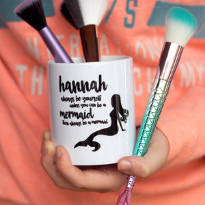 Mermaid Personalised Make Up Brush Pot - new in home