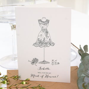 Will You Be My Maid Of Honour Personalised Card - be my bridesmaid?