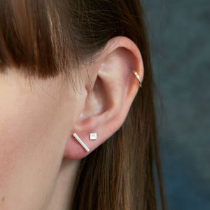 Sterling Silver Geometric Stud Earrings Set - earrings