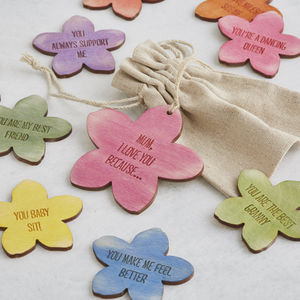 I Love You Because… Personalised Message Flower Tokens - jewellery gifts for mothers