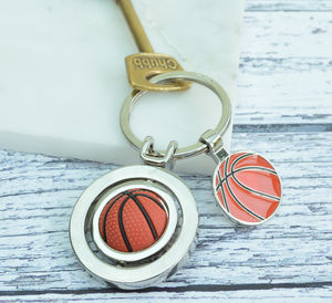 Personalised Spinning Basketball Keyring