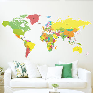 Countries Of The World Map Wall Sticker - children's room