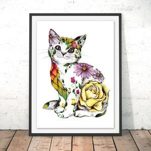 Rosie The Floral Cat Fine Art Print