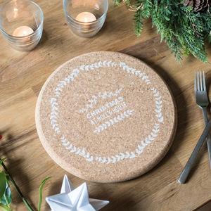 Personalised Christmas Wreath Cork Trivet - tableware