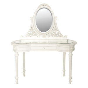 Vanity Table And Mirror In White