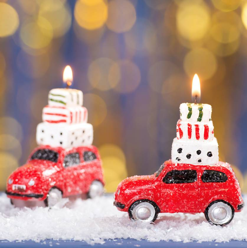 Festive Red Car Candle