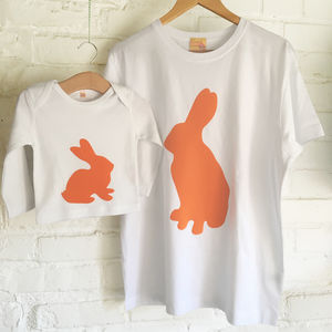 Daddy And Me Rabbit And Bunny T Shirt Set - babies' dad & me sets