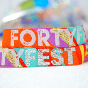 Forty Fest 40th Birthday Party Wristbands 40 Fest