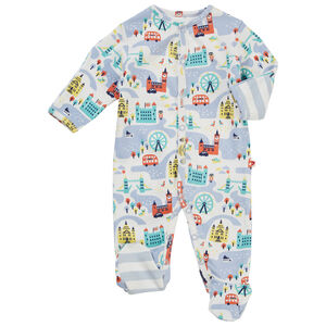 Unisex Blue Little London Baby Footed Sleepsuit