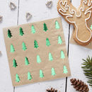 Green Tree Foiled Paper Napkins Christmas