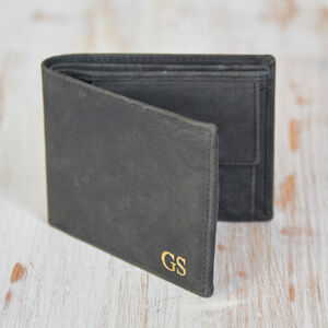 Personalised Black Buffalo Leather Handmade Wallet