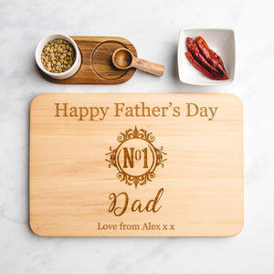 Number One Dad Monogram Wooden Chopping Board