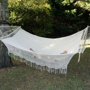Elegance Cream Large Spreader Bar Hammock - garden furniture