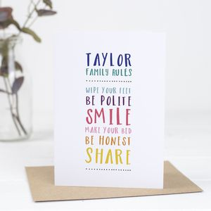 Personalised Family Rules Card